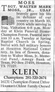 Moss funeral info