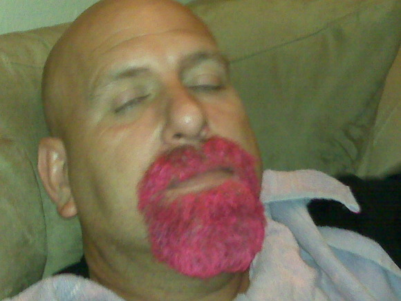Mark's pink beard