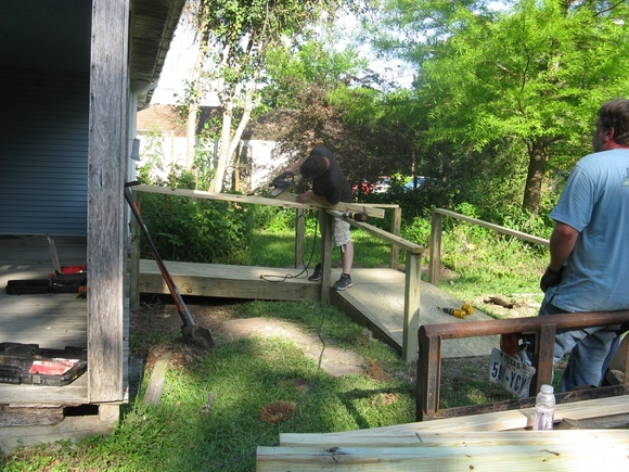 sanding handrail